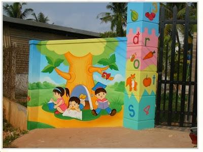 vẽ tranh tường mẫu giáo,vẽ tranh tường mầm non