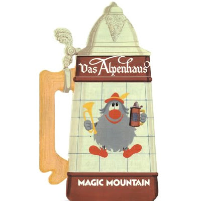 Menu: Das Alpenhaus German Restaurant, Magic Mountain Amusement Park