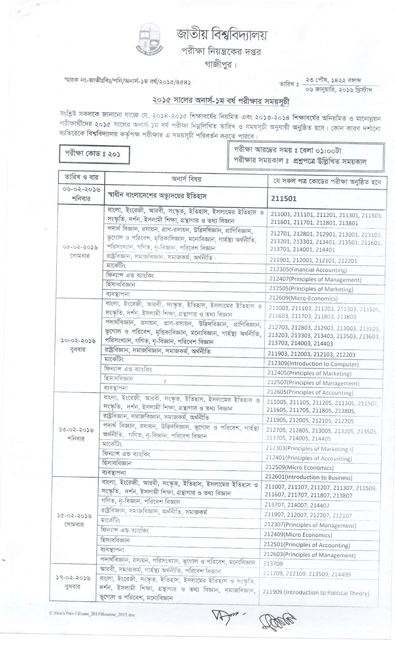 national university honours 1st year final exam routine 2015