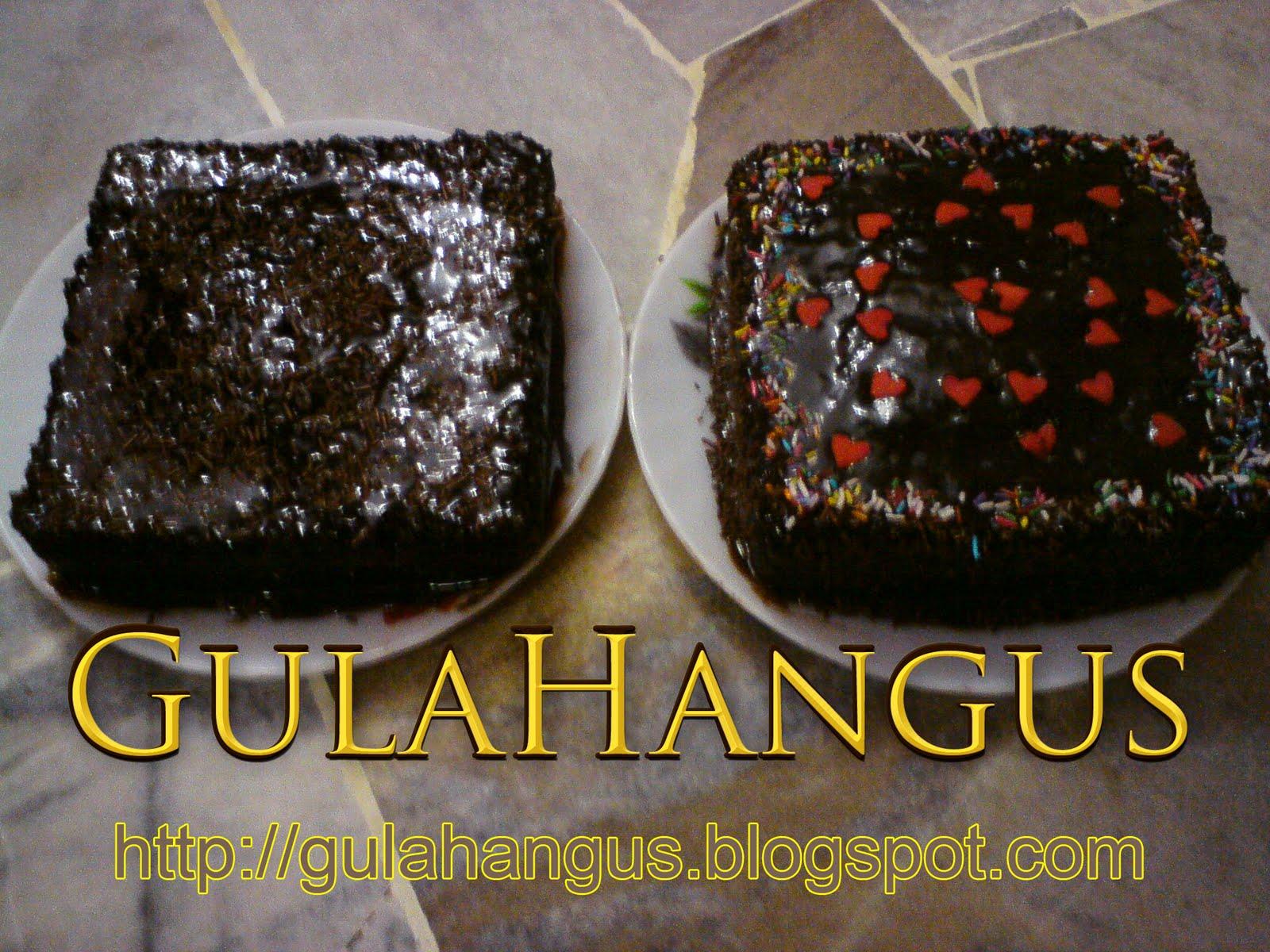 Semalam GH cuba try test buat Kek Gula Hangus bersalut coklat
