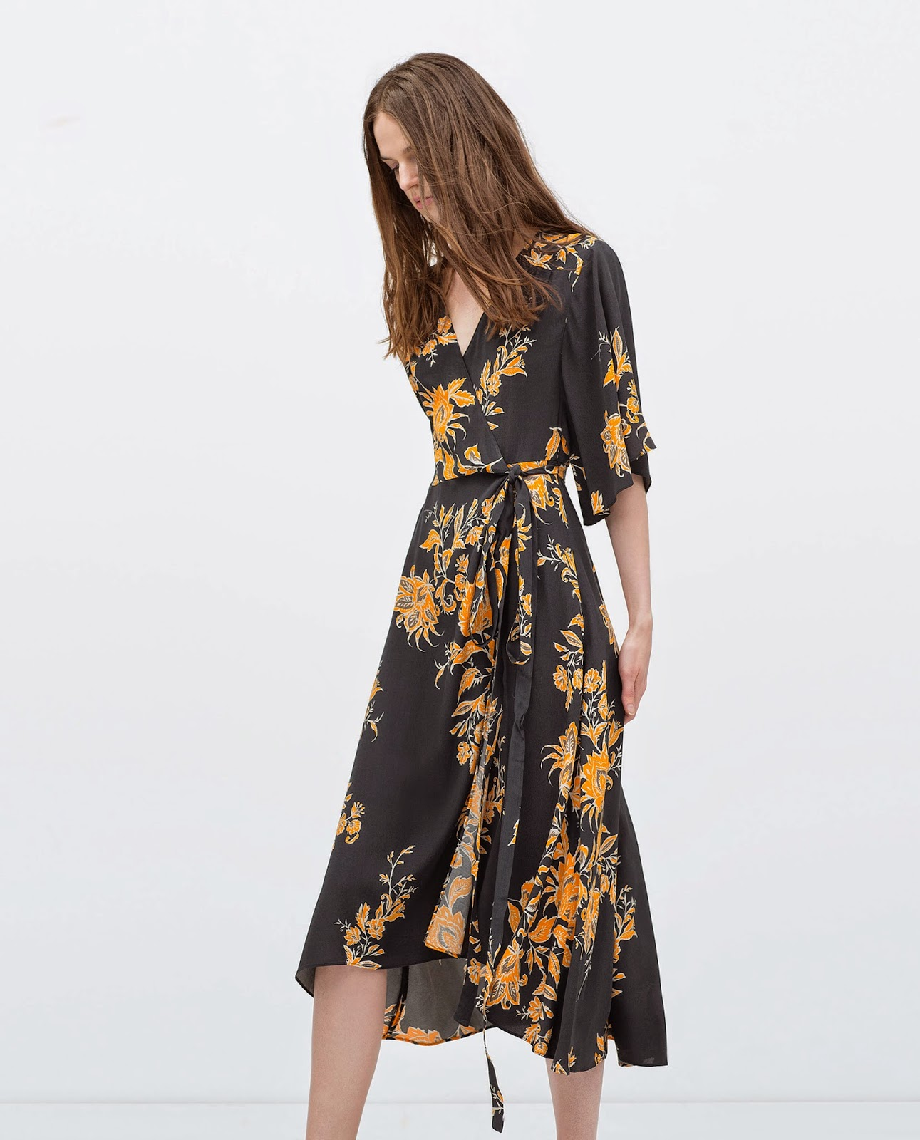 zara flower wrap dress,