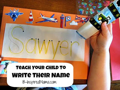 rainbow name sign activity to teach child to write name