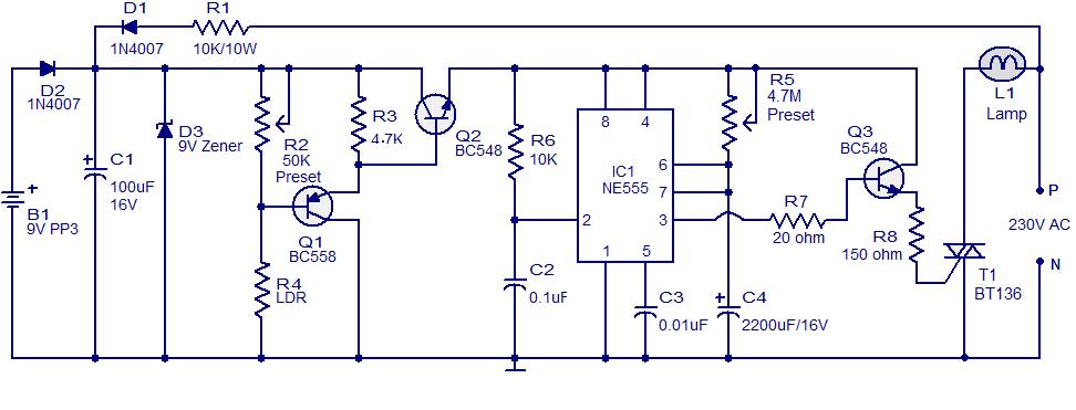 automatic night light circuit using ne555 free electronic circuit rh circuits audio blogspot com auto night lamp using led circuit automatic night lamp circuit diagram using ldr