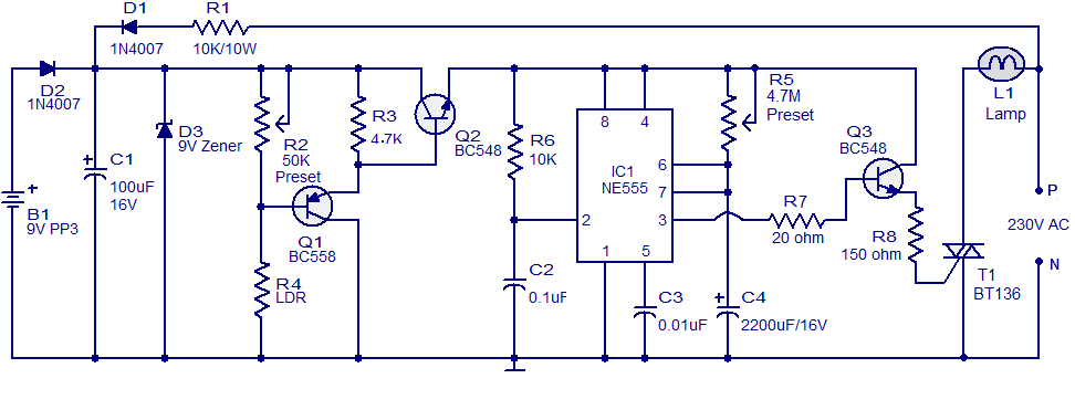Automatic Night Light Circuit Using Ne555