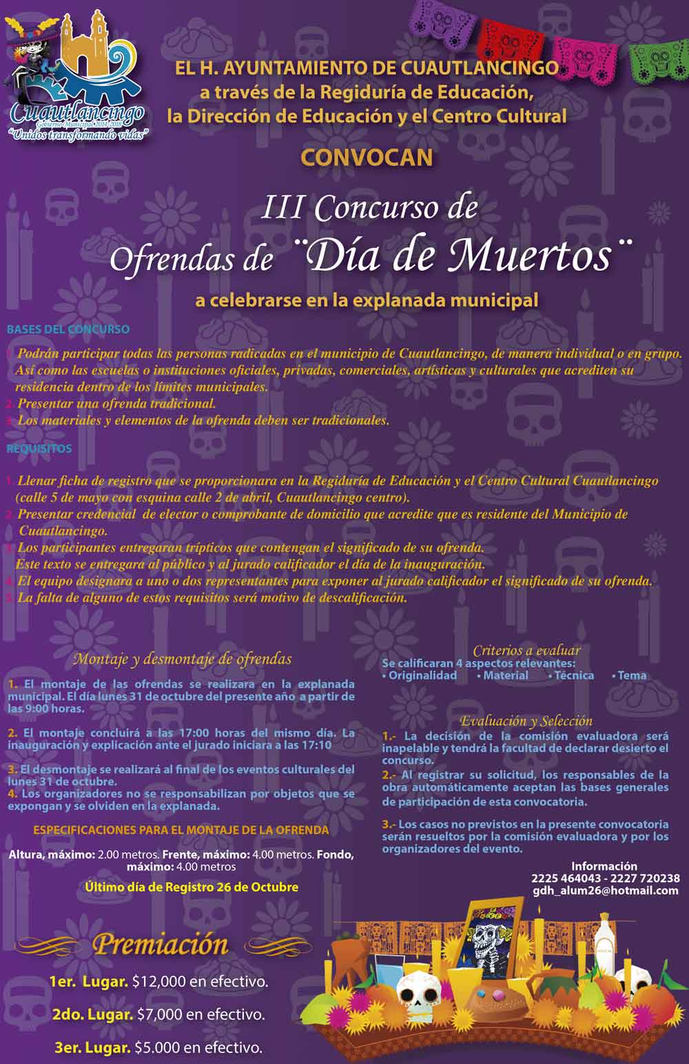Concurso de Calaveras en Cuautlancingo