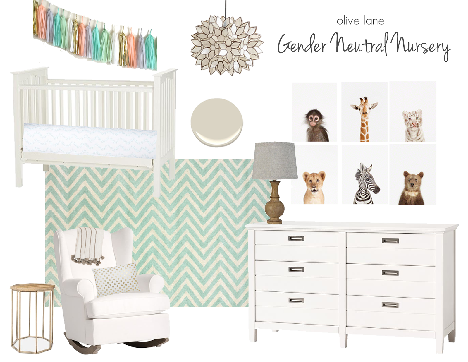 Gender Neutral Nursery Design Mint Green and Gold Olive Lane www.olivelaneinteriors.com