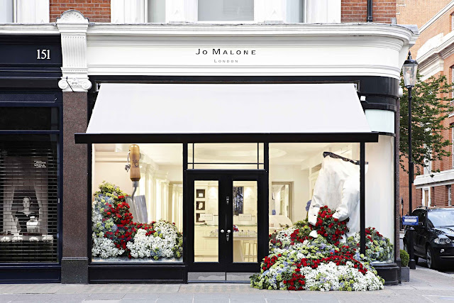Flowers pouring out of Jo Malone's Sloane Street store.