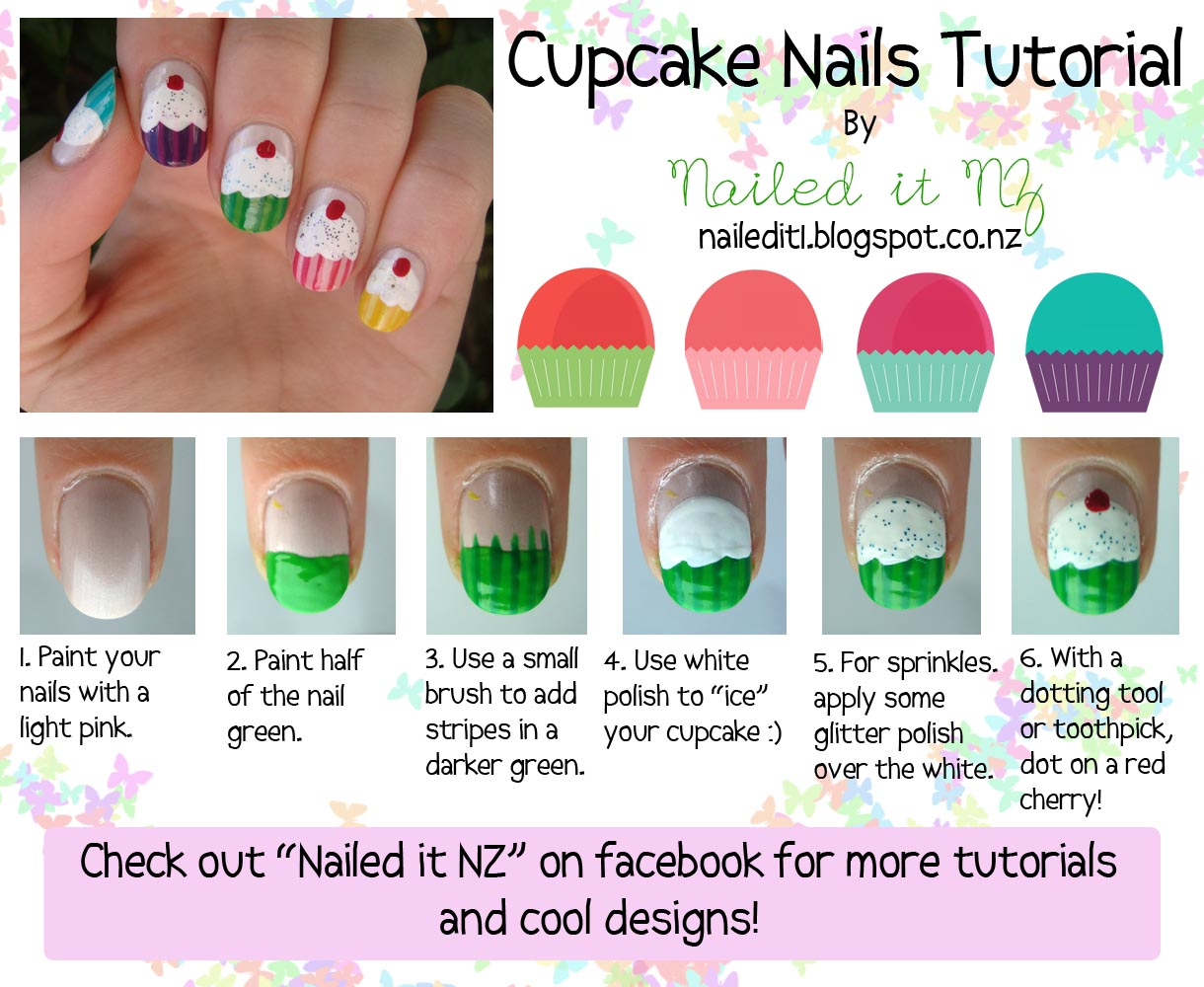 Nail art for short nails #6: Cupcake Nails