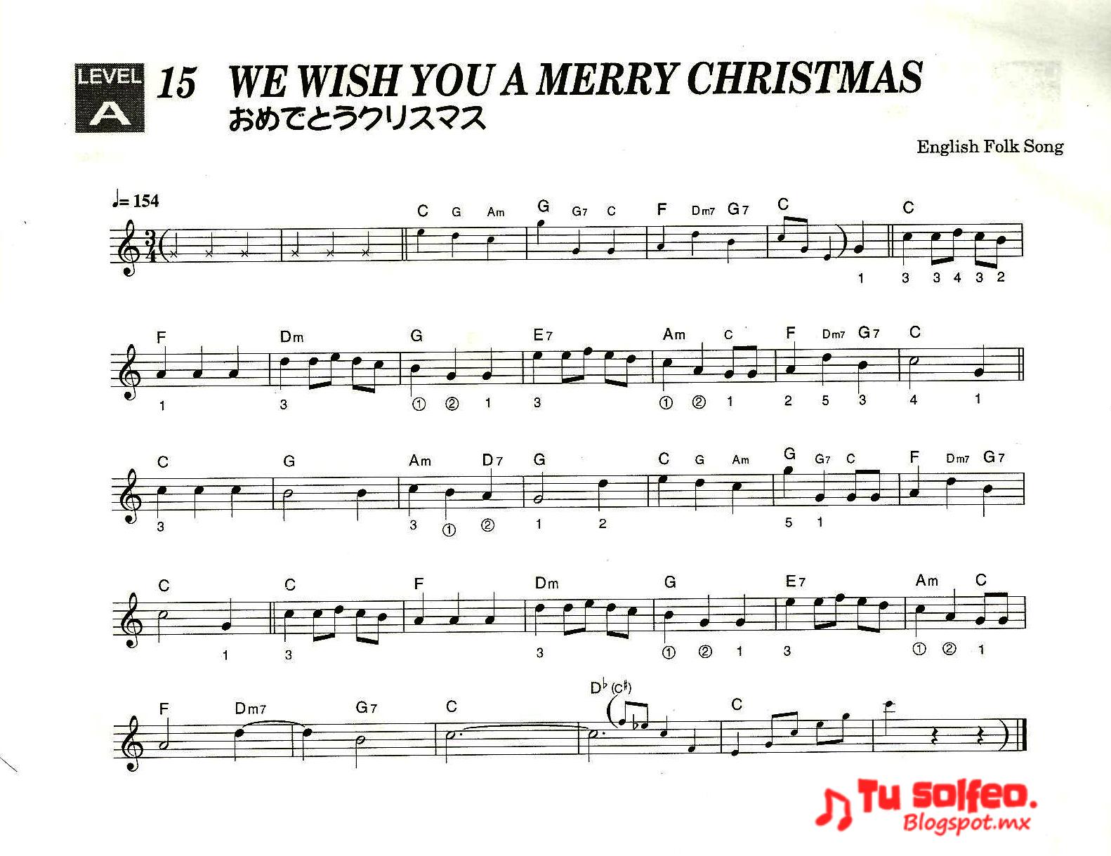 partitura feliz navidad we wish you a merry christmas