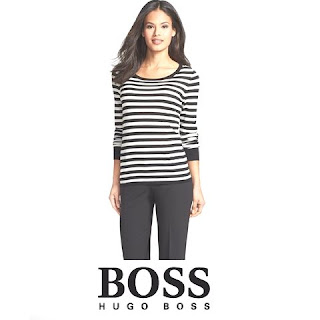 Princess Letizia Style  HUGO BOSS Stripe Wool Sweater