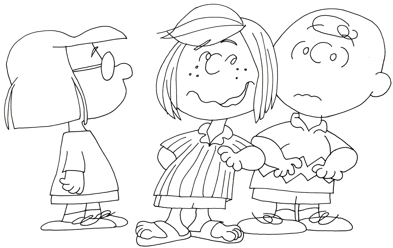 marcie peppermint charlie brown coloring page - Peanuts Coloring Pages