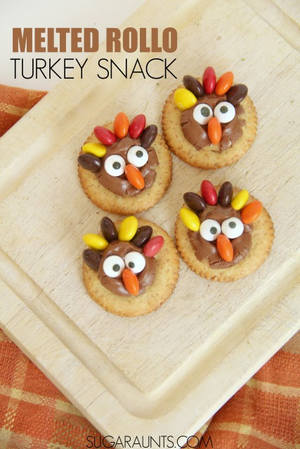 Turkey treat snacks for kids this Thanksgiving. Make these for after school, parties, play dates, and Thanksgiving dessert this Fall! Melted Rollos on a salty cracker are such a good crispy, sweet, and salty combination!