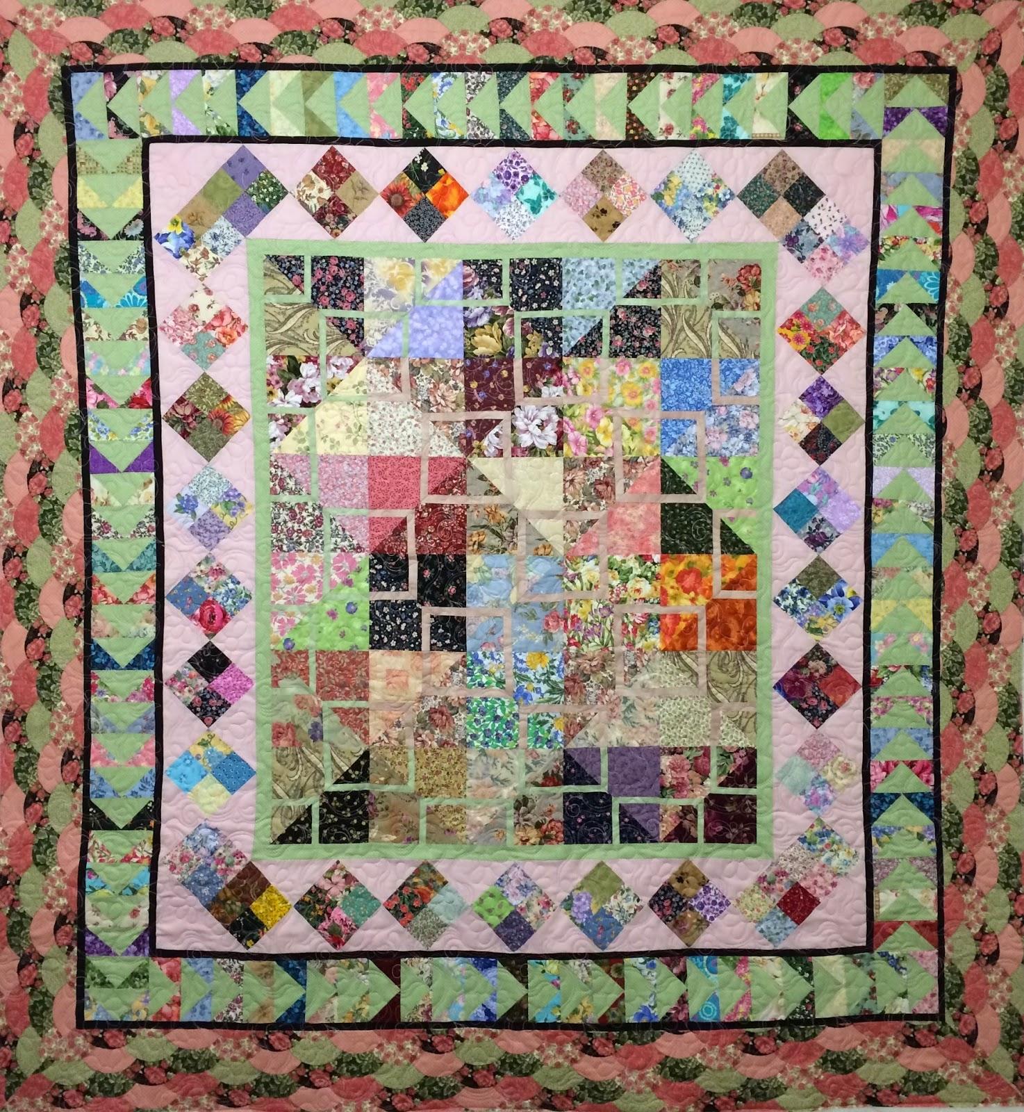 Peggy Krebs Pink & Green Floral Quilt