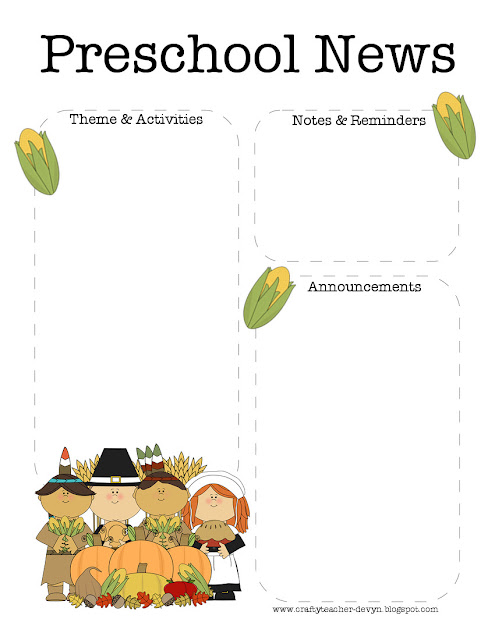 november  thanksgiving preschool newsletter template
