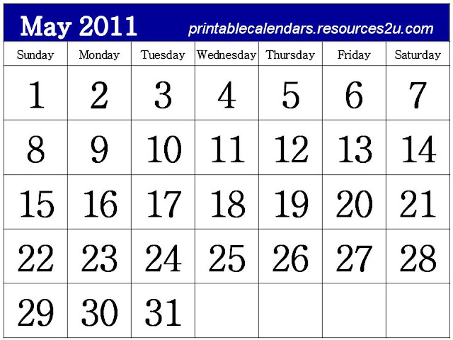 2011 calendar printable may. Free Printable Calendar 2011
