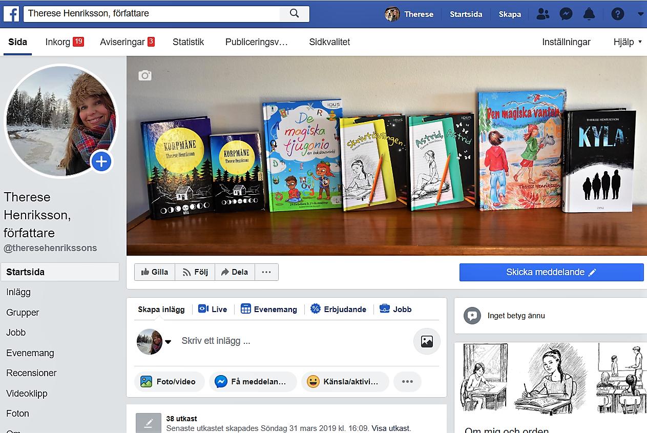 Författarsidan på Facebook