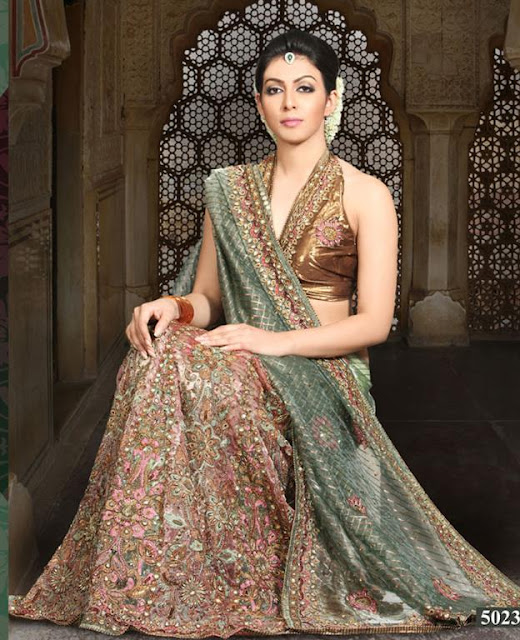 Embroidered Bridal Saree Designs 2012
