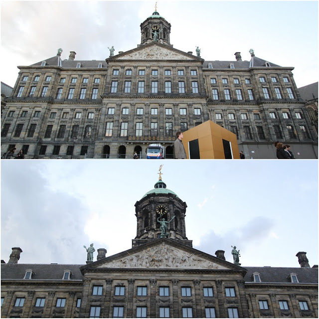 A close view of Royal Palace of Amsterdam which was built as city hall in the 17th century in Amsterdam, Netherlands