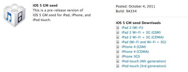 Download iOS 5 GM IPSW