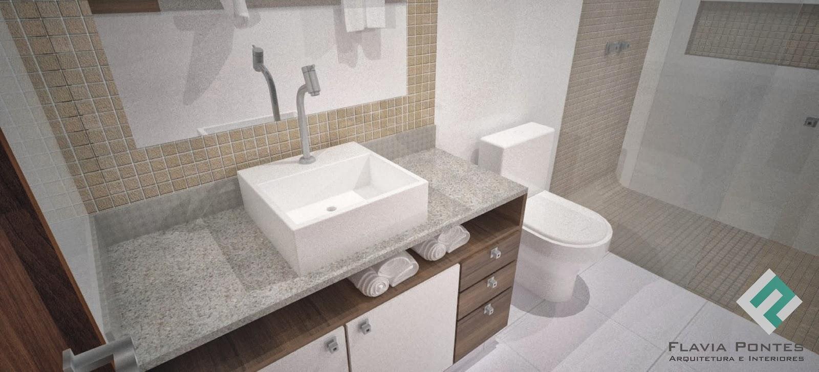 Flavia Pontes Arquitetura Outubro 2013 -> Banheiro Com Pastilhas Bege E Marrom