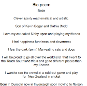 This is a bio poem. A bio poem is a poem about yourself.