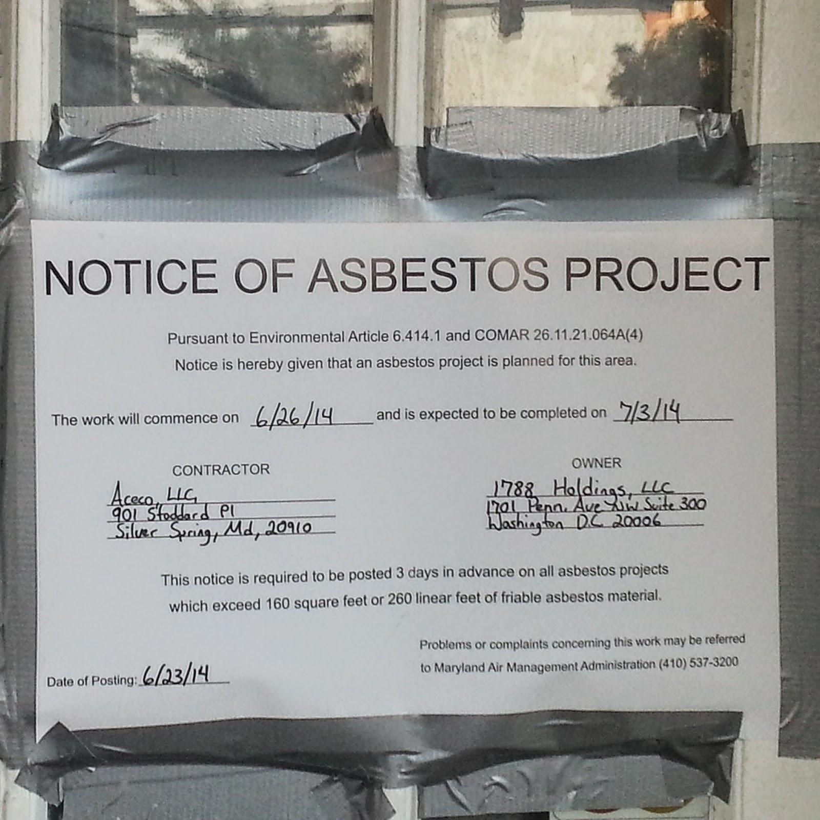 Robert Dyer @ Bethesda Row: ASBESTOS PROJECT NOW PART OF BETHESDA ...