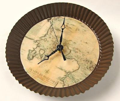 Faça em casa relógio decorado com mapa