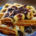 Pumpkin Eggnog Waffles with Chocolate Chips