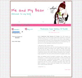 Me and My Bear blogger template. cute design blogger template. cute blogpot template free
