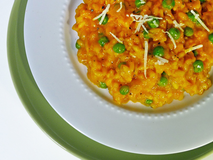 Carrot Risotto with Peas