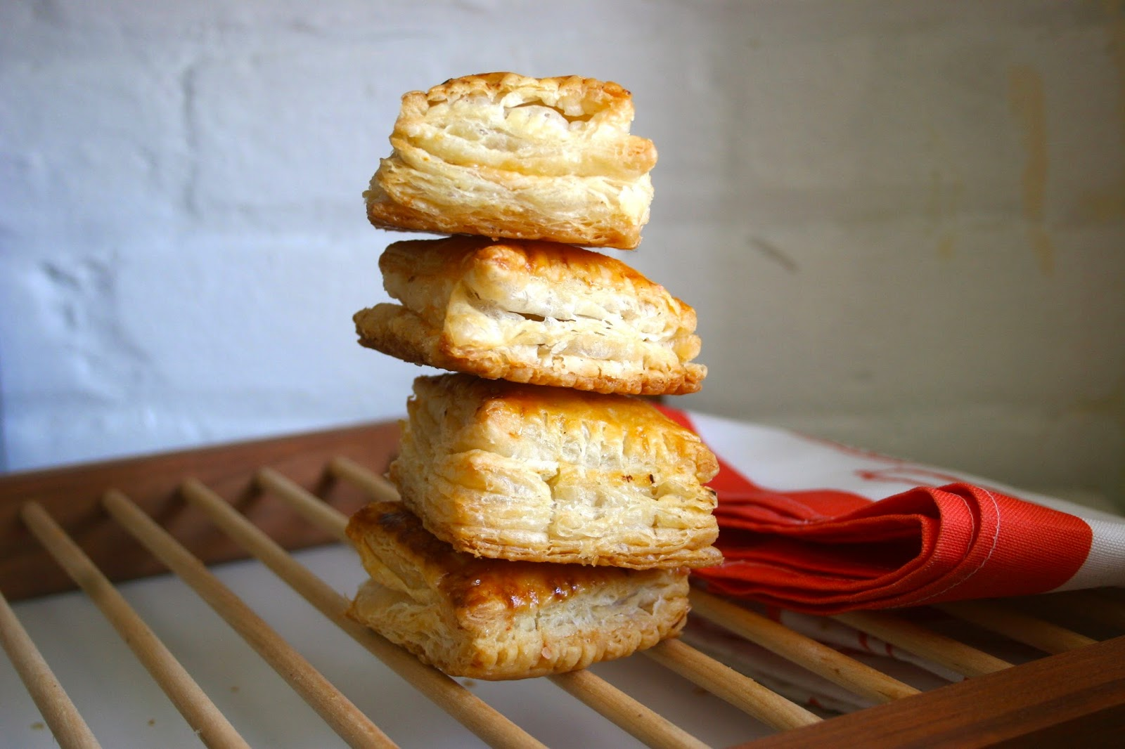 Puff Pastry Hand Pies with Goat Cheese & Hot Pepper Jelly stacked