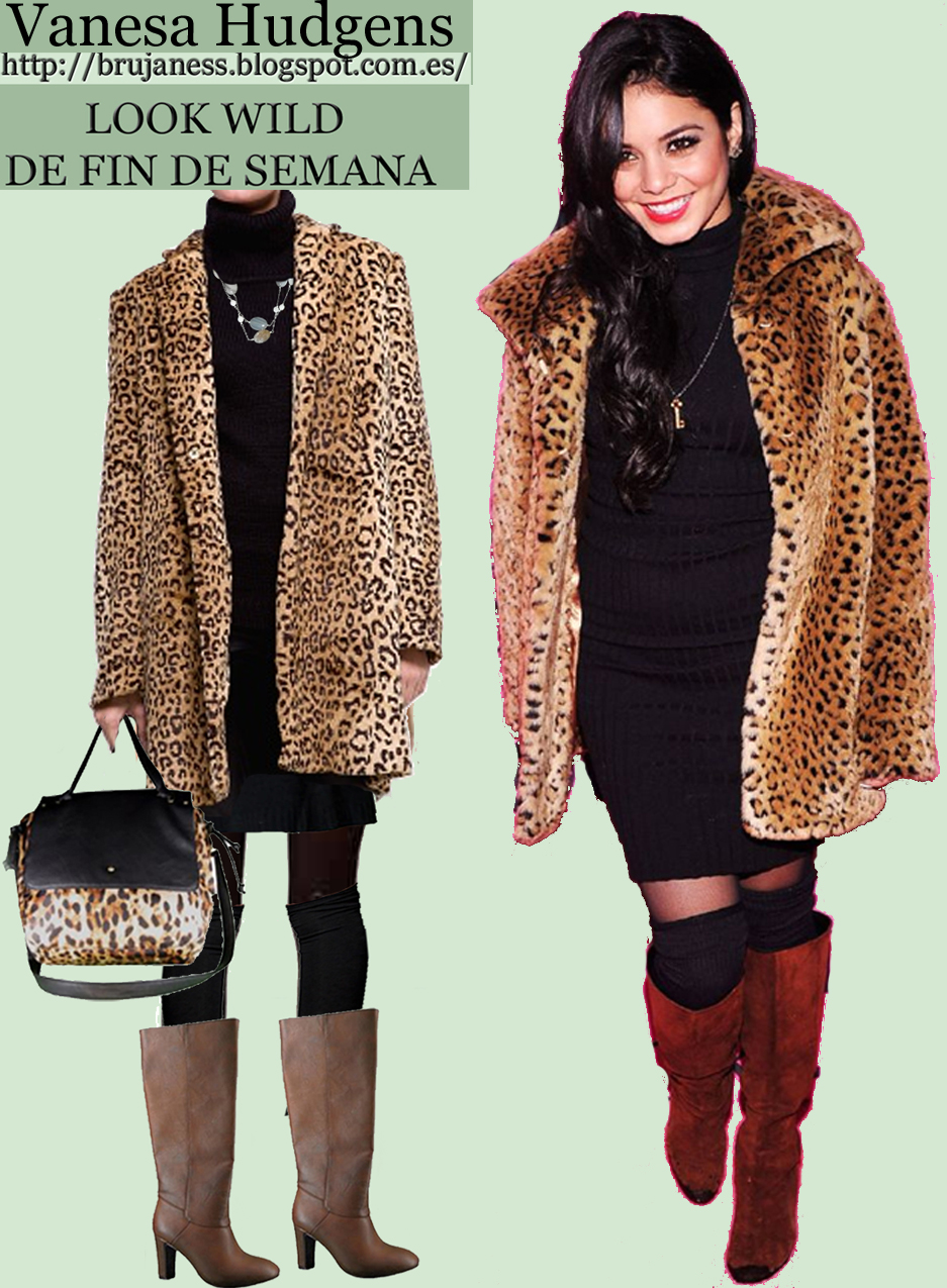 Vimos a la actriz y cantante lucir este look en el Victoria's Secret Fashion Show en New York este mes. look whattowear quemepongo combinar animal print leopardo estampado vestido negro botas altas marrones hight brown boots black dress