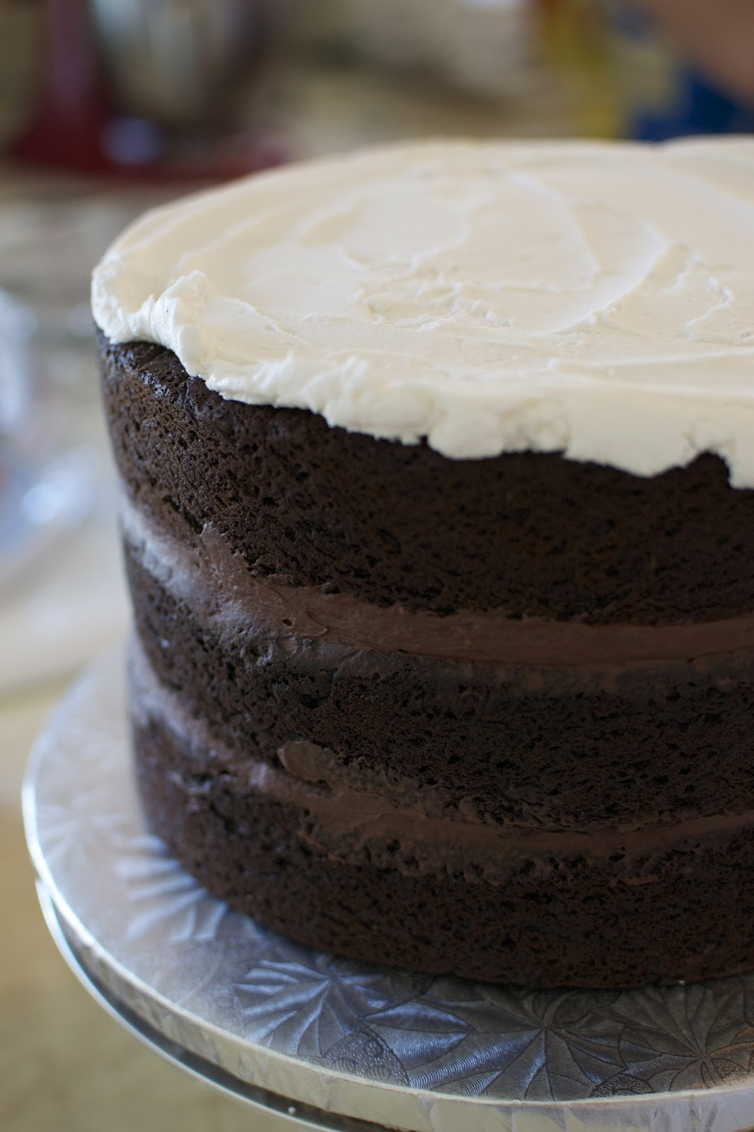 Chocolate Cake with Dark Chocolate Ganache Filling!