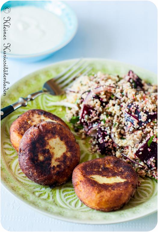 Batata Charp ~ Kartoffelküchlein mit Fleischfüllung mit Rote Beete Taboulé