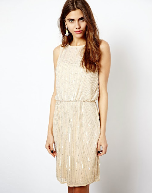 cream sequin dress
