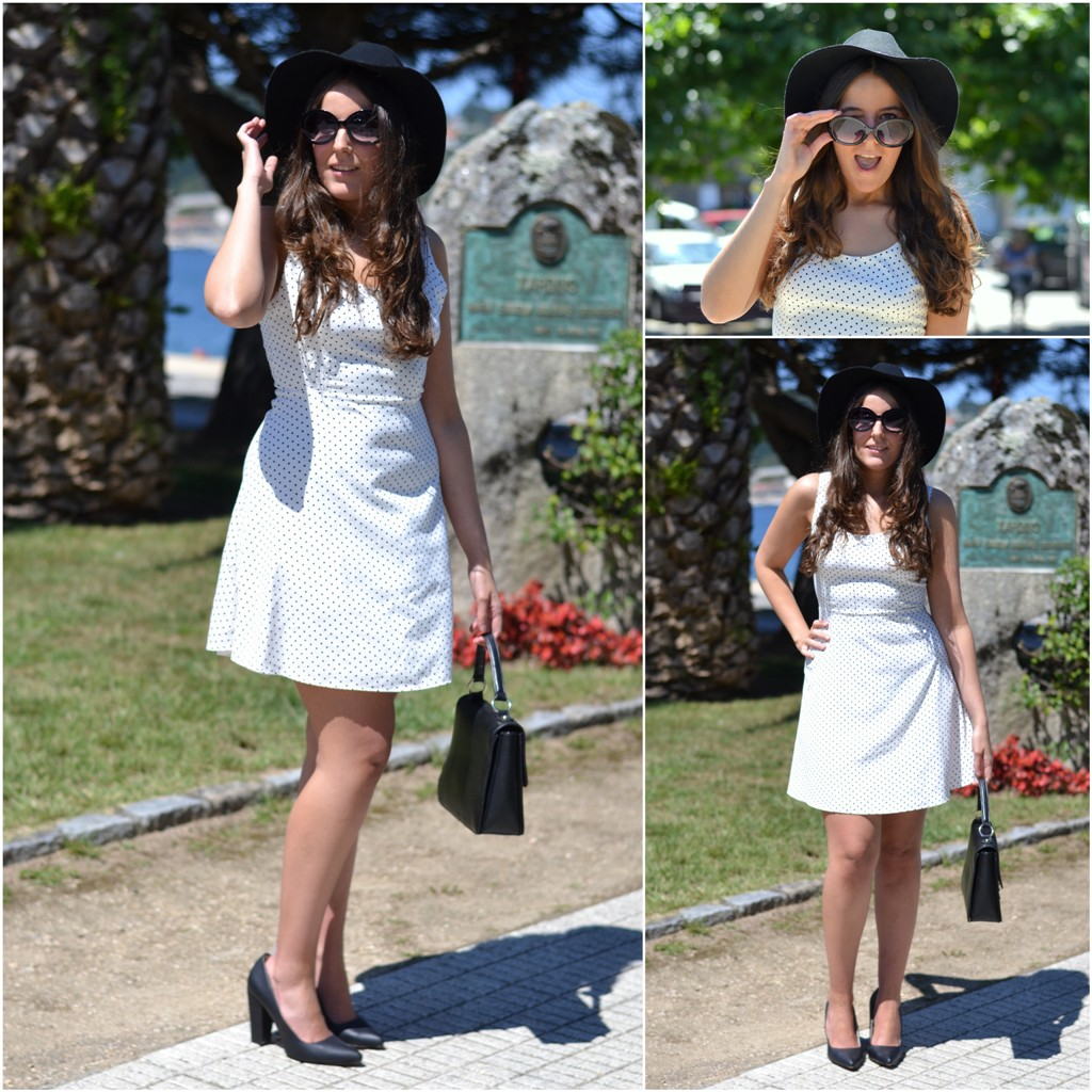 lady, pull&bear black hat, sunglasses, zara white dress, shoespiel bag