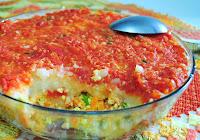 Purê Recheado com Tofu e Cenoura ao Molho de Tomates (vegana)