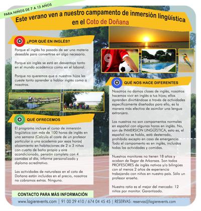 diseño de folleto de campamentos de verano en el Coto de Doñana para aprender y perfeccionar inglés, niños de 7 a 13 años (ver)
