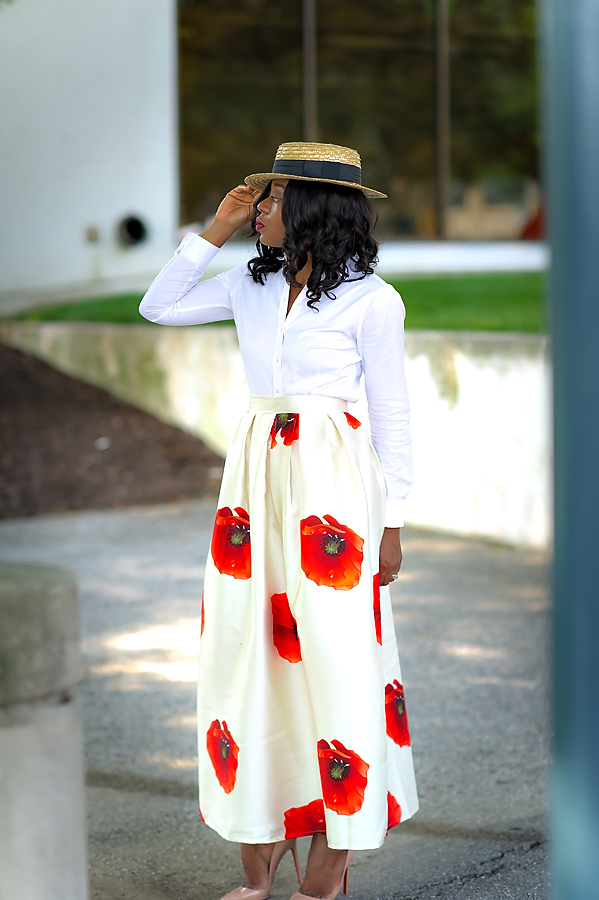 Chicwish maxi skirt with straw hat