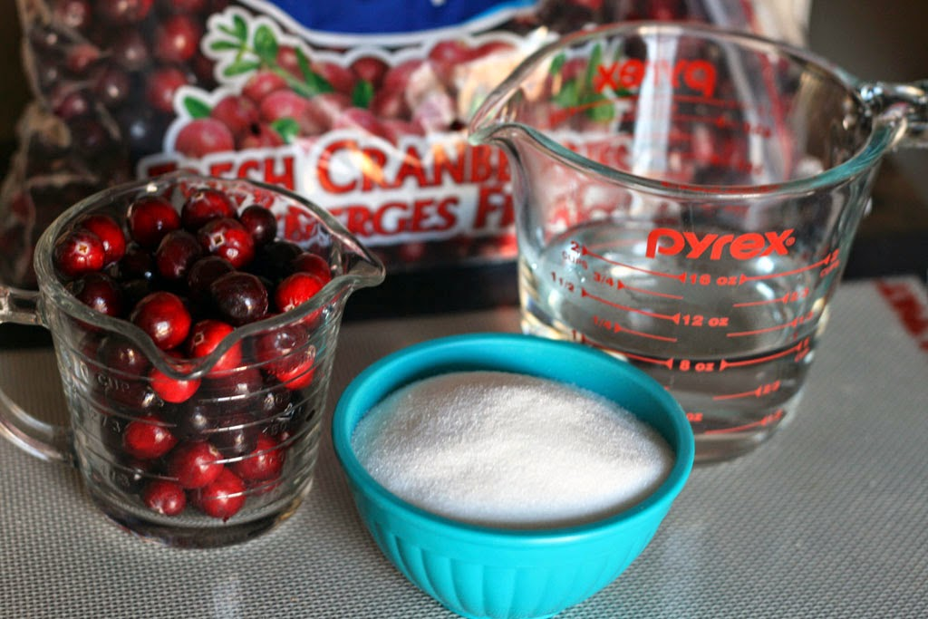 Mise-En-Place: A cup of fresh cranberries, a cup of sugar, and a cup of water.