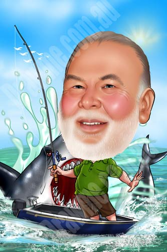 Draw me blog fishing caricature for Party boat fishing near me