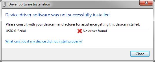 Proses instalasi driver usb arduino otomatis gagal