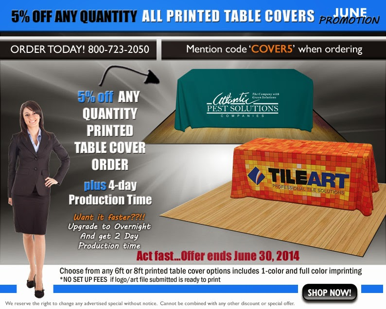 5% off all PRINTED table covers ends June 30th