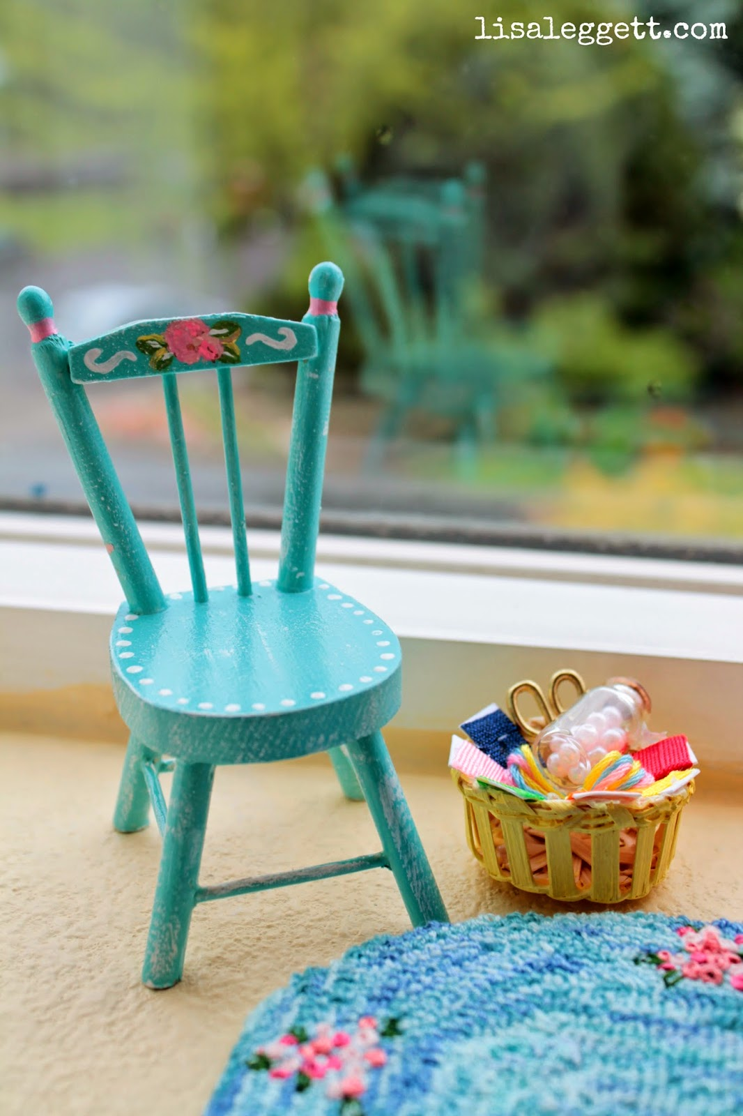Mini painted chair & craft basket by Lisa Leggett