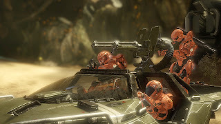 Red team with Warthogs Halo 4