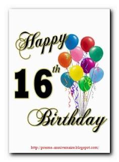 Joyeux anniversaire 16 ans
