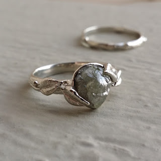 diamond Rings, Engagement Rings, Diamond Engagement Ring, Raw Uncut Bridal Set, Cruelty Free Diamond Rings, Rough Uncut Diamonds, Leaf and Twig Wedding Set