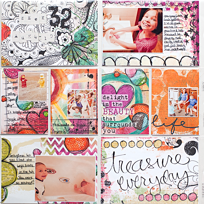 Heather Greenwood Designs | Week 32 #mixedmedia #pocketscrapbook #projectlife
