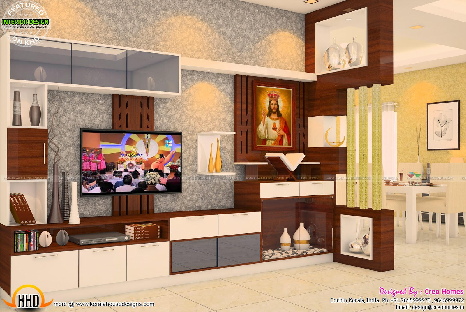 Living, prayer, kitchen interiors - Kerala home design and floor plans