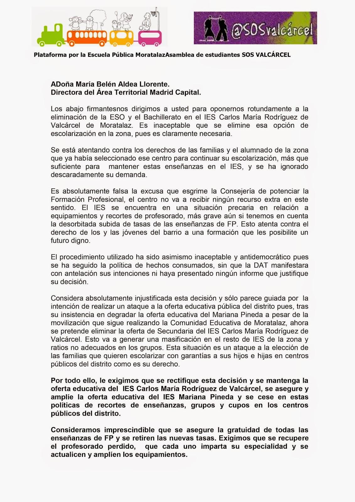 MareaVerde: Modelo de firmas de la Plataforma por la Escuela ...
